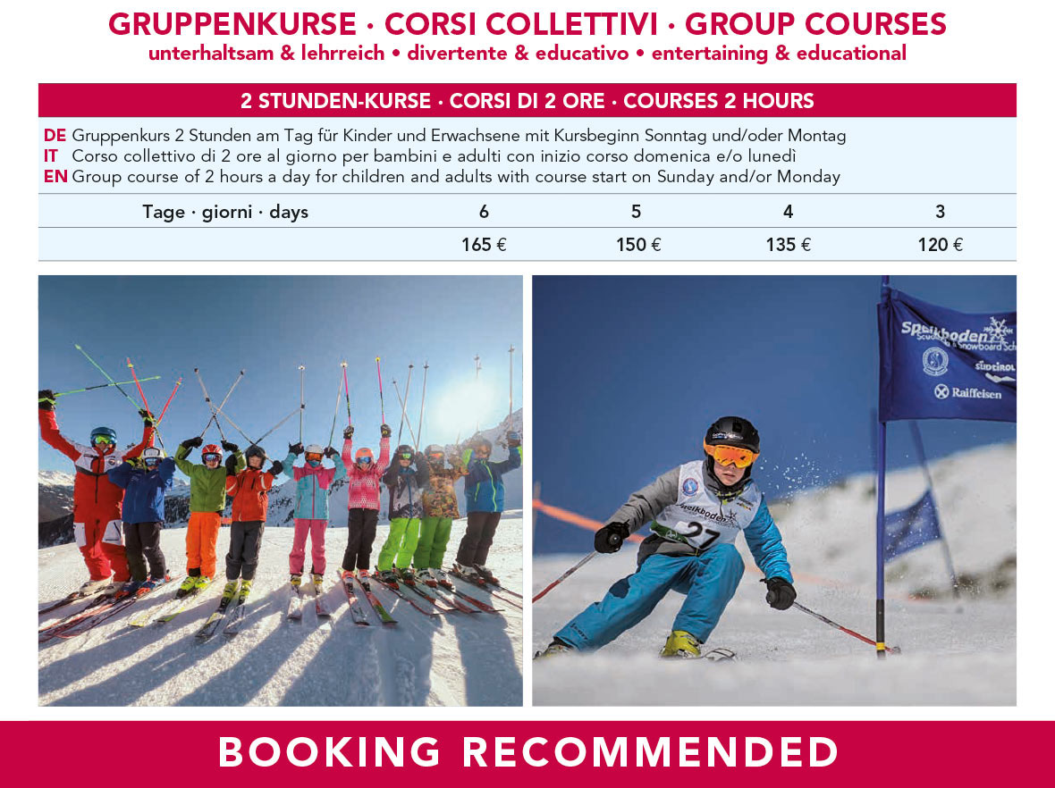 ski and snowboard group courses